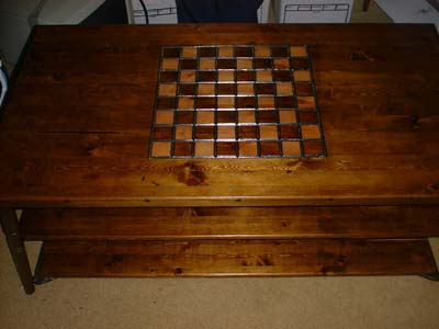 Coffee table with chess board etched into top